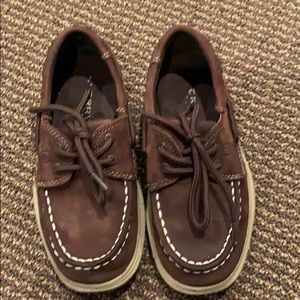 Boys brown suede Sperry top siders, size 10.5